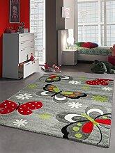 Kinderteppich Spielteppich Schmetterling Design Grau Rot Grün Schwarz Weiss Größe 160x230 cm