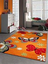 Kinderteppich Spielteppich Schmetterling Design Orange Rot Grau Grün Weiss Größe 80x150 cm