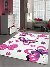 Kinderteppich Spielteppich Schmetterling Design Weiss Pink Lila Größe 120x170 cm