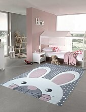 Kinderteppich Spielteppich Teppich Kinderzimmer Babyteppich Hase in Creme Grau rosa Größe 140x200 cm
