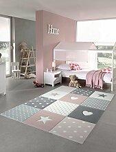 Kinderteppich Spielteppich Teppich Kinderzimmer Babyteppich mit Herz Stern in Rosa Weiss Grau Größe 200 x 290 cm