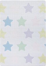 Kinderteppich Sterne, Memory Schaum, blau