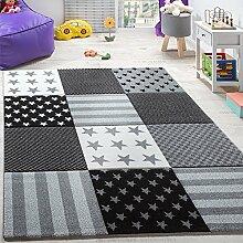 Kinderteppich Sterne Muster Kurzflor Konturenschnitt Karo Design Grau Schwarz , Grösse:80x150 cm