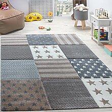 Kinderteppich Sterne Muster Kurzflor Konturenschnitt Karo Design Beige Creme, Grösse:120x170 cm