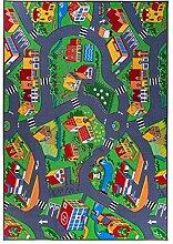 Kinderteppich, Straßenteppich, Spielteppich, Grau