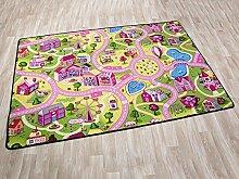 Kinderteppich SWEET CITY - 140cm x 200cm, Schadstoffgeprüft, Anti-Schmutz-Schicht, Auto-Spielteppich für Mädchen, Fußbodenheizung geeigne