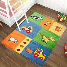 Kinderteppich Teppich für Kinder - in Blau Grün Muster mit Tieren - Kinderzimmer Neu 160 x 220 cm
