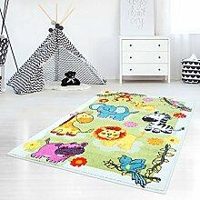 Kinderteppich, Teppich für Kinderzimmer mit Tier-Motiven, Giraffe/ Löwe/ Elefant/ Zebra, Bunt und Farbenfroh, Grün, für Jungen und Mädchen, Größe: 190 x 280 cm