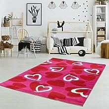 Kinderteppich Teppich Kinder Mädchen Spielteppich Herzen Rosa Kinderzimmer Spielzimmer , Größe in cm:80 x 150 cm, Muster:Herz