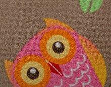 Kinderteppichboden Eule Spielteppich Kinderzimmer Mädchen 200 x 400 cm beige. Weitere Farben und Größen verfügbar