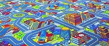 Kinderteppichboden Straßenteppich Spielteppich Kinderzimmer 350 x 400 cm grau. Weitere Farben und Größen verfügbar