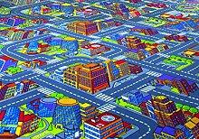 Kinderteppichboden Straßenteppich Spielteppich Kinderzimmer 450 x 400 cm grau. Weitere Farben und Größen verfügbar