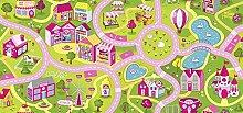 Kinderteppichboden Straßenteppich Spielteppich Kinderzimmer Mädchen 300 x 400 cm pink. Weitere Farben und Größen verfügbar