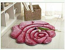 KinderteppichEuropäische 3D Rote Rose Runde Teppich, Wohnzimmer Schlafzimmer Swivel Stuhl Korb Computer Stuhl Matte , 3 , diameter 120cm