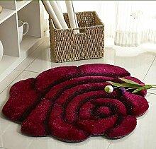 KinderteppichEuropäischen Stil 3D Rose runden Teppich, Wohnzimmer Schlafzimmer Teppich, Drehstuhl Korb Computer Stuhl Matten , 2 , diameter 90cm