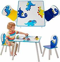 Kindertisch Dinosaurier Zwei Stühle Spieltisch Tisch Stuhl Maltisch Basteltisch Kindermöbel Kinderzimmer Weiß