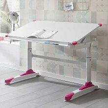 Kindertisch in Weiß und Pink höhenverstellbar