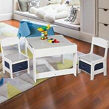 Kindertisch mit 2 Stühle Sitzgruppe mit Stauraum