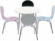 Kindertisch rund Basteltisch Spieltisch Kindermöbel Kinderzimmer weiss chrom Füße Ø 60cm 4190