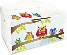 Kindertruhenbank XL Kinderbank Truhenbank Motiv: Eulen. Behälter für Spielzeug, Sitzbank mit Stauraum für Spielsachen