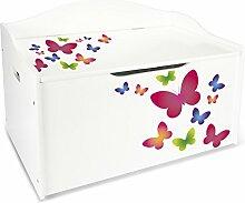 Kindertruhenbank XL Kinderbank Truhenbank Motiv: Schmetterlinge. Behälter für Spielzeug, Sitzbank mit Stauraum für Spielsachen