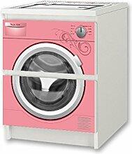 Kinderwaschmaschine rosa Möbelsticker / Aufkleber - NSD56 - für Kinderzimmer Kommode / Nachtisch MALM von IKEA