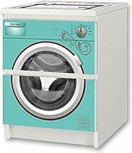 Kinderwaschmaschine türkis Möbelsticker / Aufkleber - NSD57 - für Kinderzimmer Kommode / Nachtisch MALM von IKEA