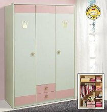 Kinderzimmer 2368 Kleiderschrank Schrank 139 cm 3-türig weiß / rosa