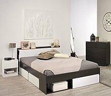 Kinderzimmer 3-teilig braun / weiß inkl Kommode + Funktionsbett + Nachtkommode Jugendzimmer Komplettzimmer Schlafzimmer
