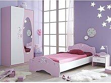 Kinderzimmer 3-teilig rosa weiß Bett Nachtkommode Kleiderschrank Kinderbett Nako Nachtschrank Schrank Mädchen Jugendzimmer