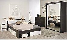 Kinderzimmer 4-teilig braun / weiß inkl Kommode + Funktionsbett + Nachtkommode + Schwebetürenschrank Jugendzimmer Jugendbett Schlafzimmer