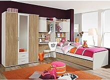 Kinderzimmer 4-tlg B 317 cm Weiß / Eiche-Sonoma