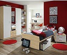 Kinderzimmer Acun 4-tlg weiß grau sonoma eiche Jugendzimmer Kleiderschrank Regal Bett inkl 3 Schubkästen Schreibtisch TÜV-geprüf