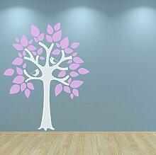 Kinderzimmer Baum Wandtattoo Aufkleber Vögel Kids Schlafzimmer Spielzimmer Kinderzimmer Raum Baby Rosa glänzend