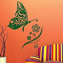 Kinderzimmer Blume und Schmetterling Easy Peel and Stick Wandtattoo Vinyl Aufkleber - Farbe wählen
