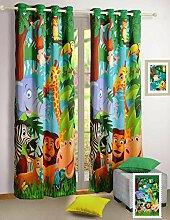 Kinderzimmer Dekoration, Digital Gedruckten Dschungeltierwelt 2 Platten Türvorhang