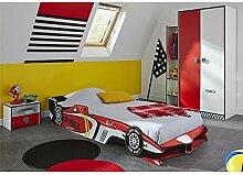 Kinderzimmer Ferraro 3-teilig rot / weiß Kleiderschrank Schrank Autobett Rennautobett Bett Kinderbett Jugendzimmer