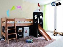Kinderzimmer Hochbett inkl. Zubehör Jugendbett massiv Kinderbett Bett Spielbe