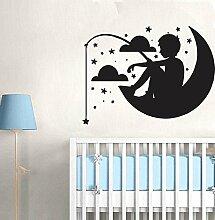 Kinderzimmer Junge auf die Mond Wandbild Art Kids Mädchen Schlafzimmer gratis Rakel. Aufkleber Aufkleber, violett, Medium - 70cm W x 52cm H