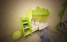 Kinderzimmer komplett Hochbett mit Gradinata und Netze VERDE MELA E VERDE CHIARO
