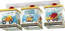 Kinderzimmer-Lampe Baustelle Decken-Lampe 63613 mit LED warmweiß 1050lm Kran Bagger LKW bunt Jungen