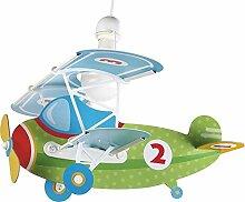Kinderzimmer-Lampe Flieger Hänge-Lampe 54022 mit LED kaltweiß 1400lm Flugzeug Doppeldecker bunt Mädchen & Jungen