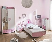 Kinderzimmer Lotte 4-tlg weiß/rosa Bett Kommode