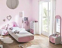 Kinderzimmer Lotte 4-tlg weiß / rosa Bett Kommode