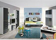Kinderzimmer Manuel 7-tlg weiß grau Jugendzimmer Kleiderschrank Schiebetüren Bett mit Regalüberbau TV Media Wand GS-geprüf