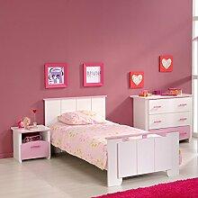 Kinderzimmer Mona 3-teilig weiß / rosa Bett