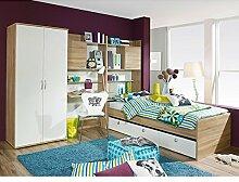 Kinderzimmer Naomi 4-teilig Weiß / Eiche Sonoma B 275 cm inkl Kleiderschrank + Kinderbett + Schreibtisch + Regal Jugendzimmer