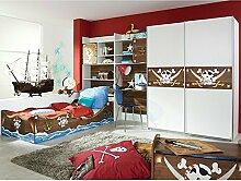 Kinderzimmer Pirat C 4-teilig weiß / braun Jugendzimmer Kleiderschrank Schreibtischregal + Regal inkl Bettkasten Bett GS-geprüf