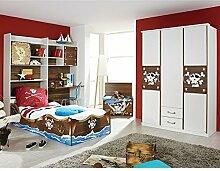 Kinderzimmer Pirat D 4-teilig weiß / braun Jugendzimmer Kleiderschrank Schreibtischregal + Regal inkl Bettkasten Bett GS-geprüf