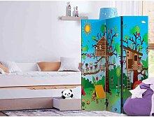 Kinderzimmer Raumteiler mit buntem Baumhaus Motiv